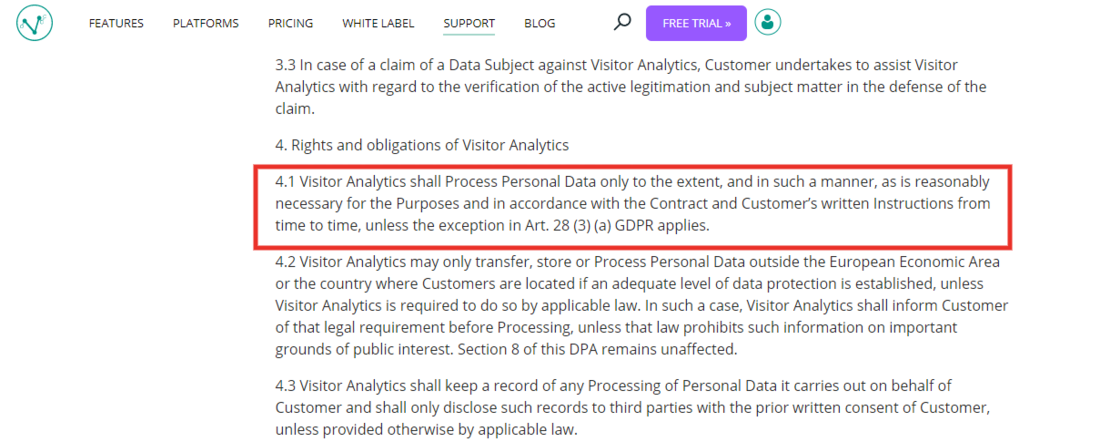 Visitor Analytics Blog - DPA Example for GDPR Compliance
