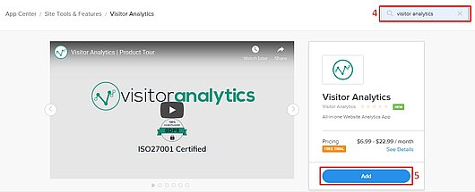 Adding Visitor Analytics app