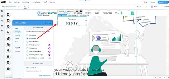 Visitor Analytics stat-counter widget in WiX Editor