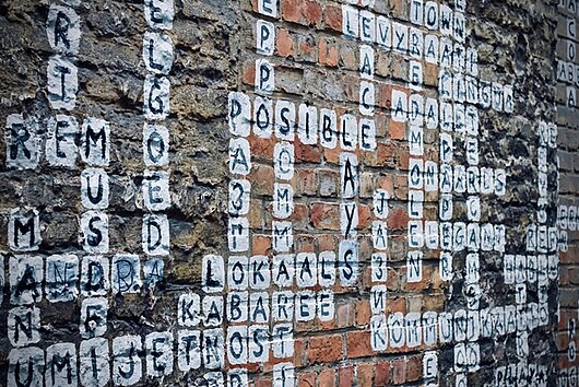 Scrabble words on wall for keywords
